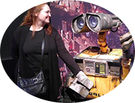 Carma with WALL-E at the Museum of Science in Minneapolis, Minn.