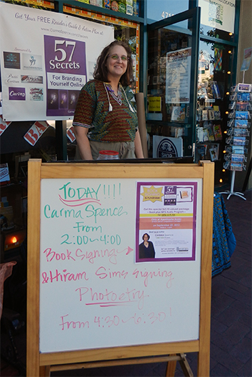 Carma Spence at Apostrophe Book Signing Event