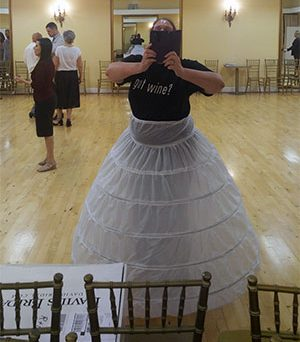 Carma wearing her petticoat over her clothes for dance lessons