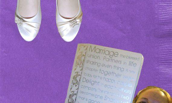 purple cocktail napkins, wedding shoes, photo album