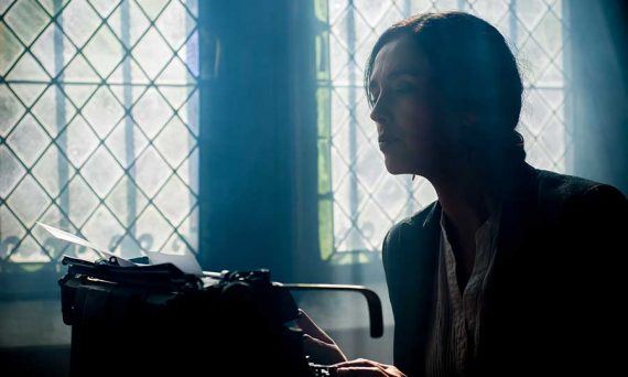 writer at a typewriter