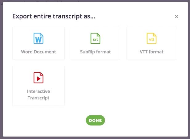 Trint.com export options