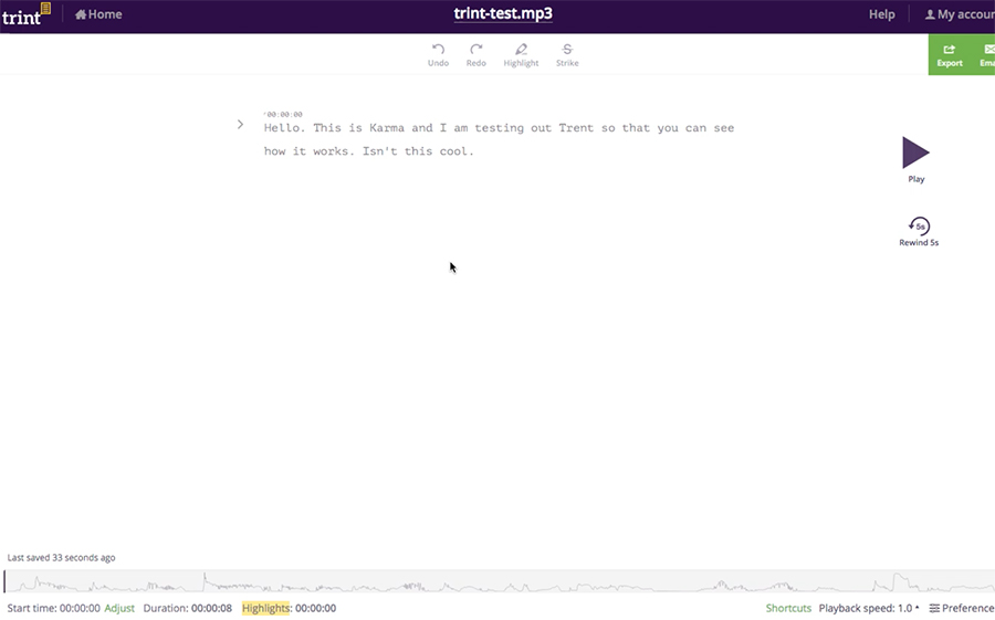 Trint.com edit interface screen
