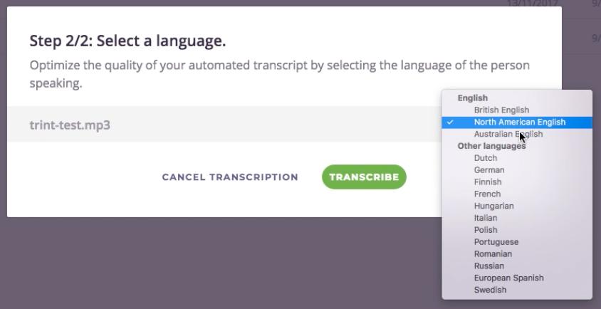 Trint.com transcribe options