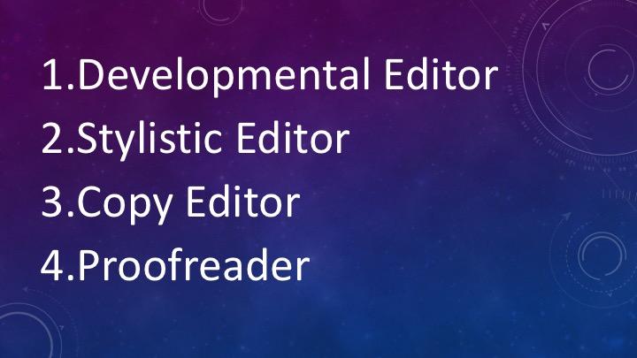 1. Developmental Editor. 2. Stylistic Editor. 3. Copy Editor. 4. Proofreader.