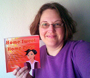 Carma posing with book Home Sweet Home Page