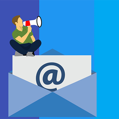 illustration of a man announcing using email